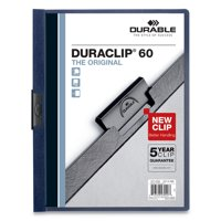 Durable Vinyl DuraClip Report Cover w/Clip, Letter, Holds 60 Pages, Clear/Navy, 25/Box -DBL221428