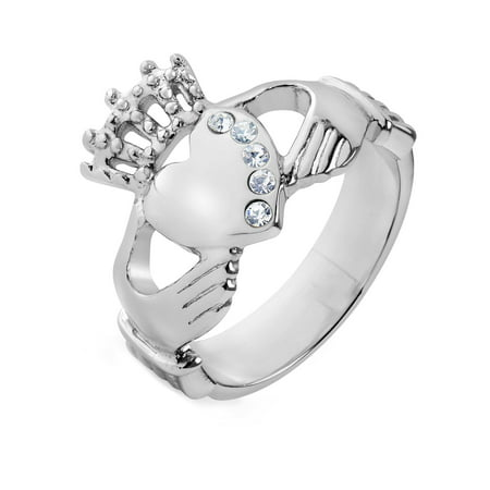 Polished Crystals Claddagh Stainless Steel Ring (15mm) Chain 15 Mm Rings