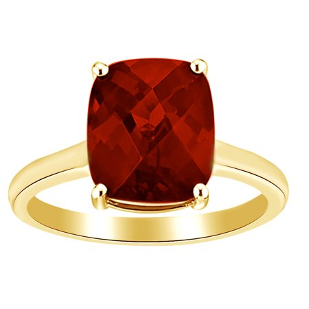 Cushion Cut Garnet Ring (5 Ct Cushion Cut Simulated Garnet Solitaire Ring in 14k Yellow Gold Over Sterling Silver Ring Size -)
