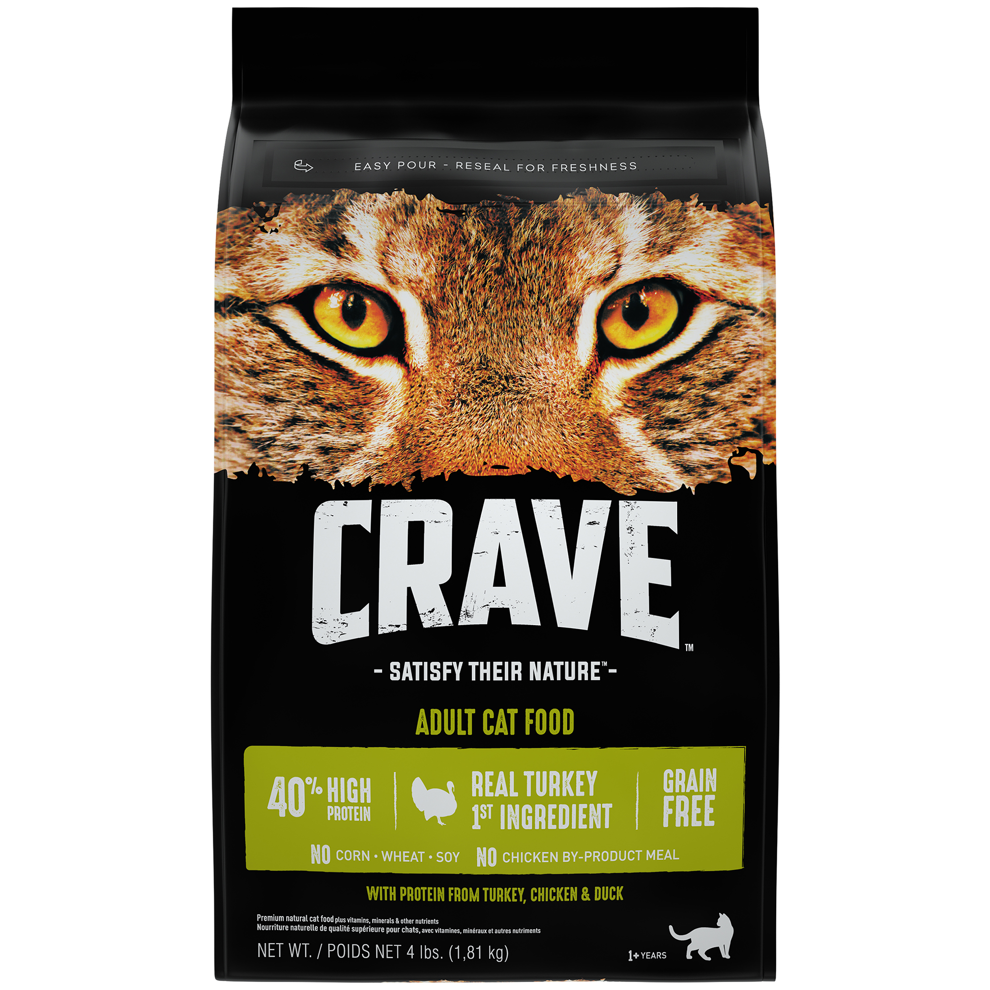 Crave Grain-Free with Protein form Turkey, Chicken & Duck Adult Dry Cat Food, 4 lb
