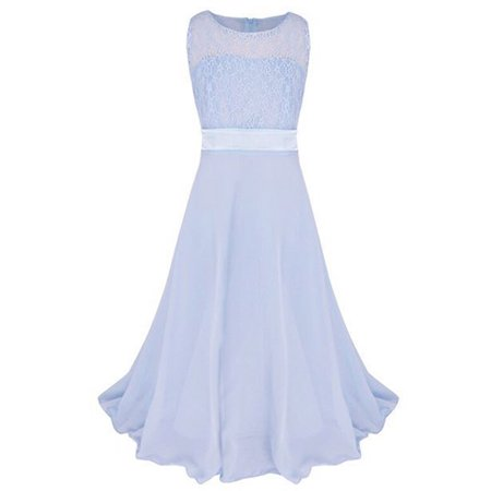 Kids Girls Lace Bust Slim Waist Long Wedding Party Dress