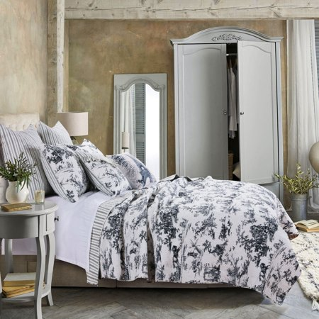 Greenland Home Fashions Classic Toile Black Cotton Quilt (Toile Coverlet)