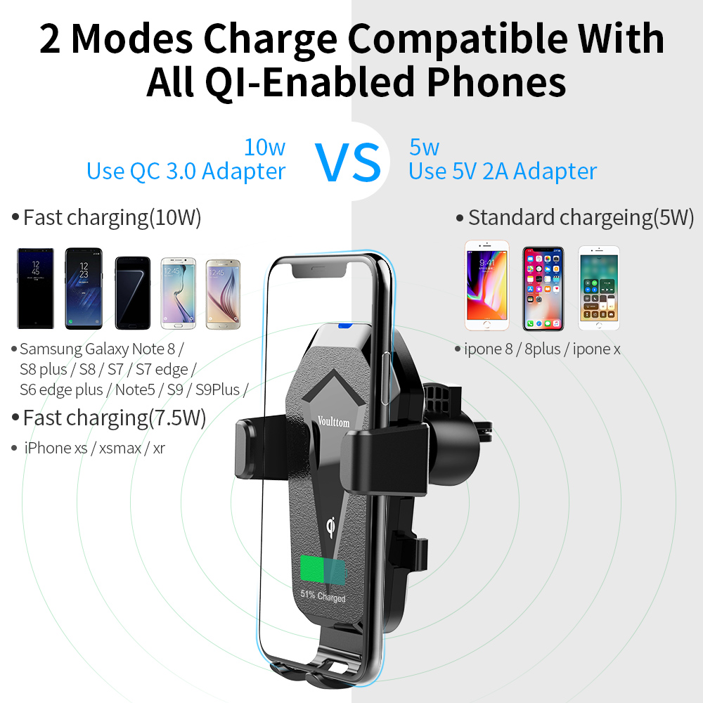 MEIDI Wireless Car Charger Phone Mount, Gravity Phone Holder & Wireless Charger 2 in 1 10W Fast Charging Compatible with iPhone 8/8 Plus/X/XS/XR/XS MAX,Samsung Galaxy and All QI-Enabled Smartphone - image 4 de 10