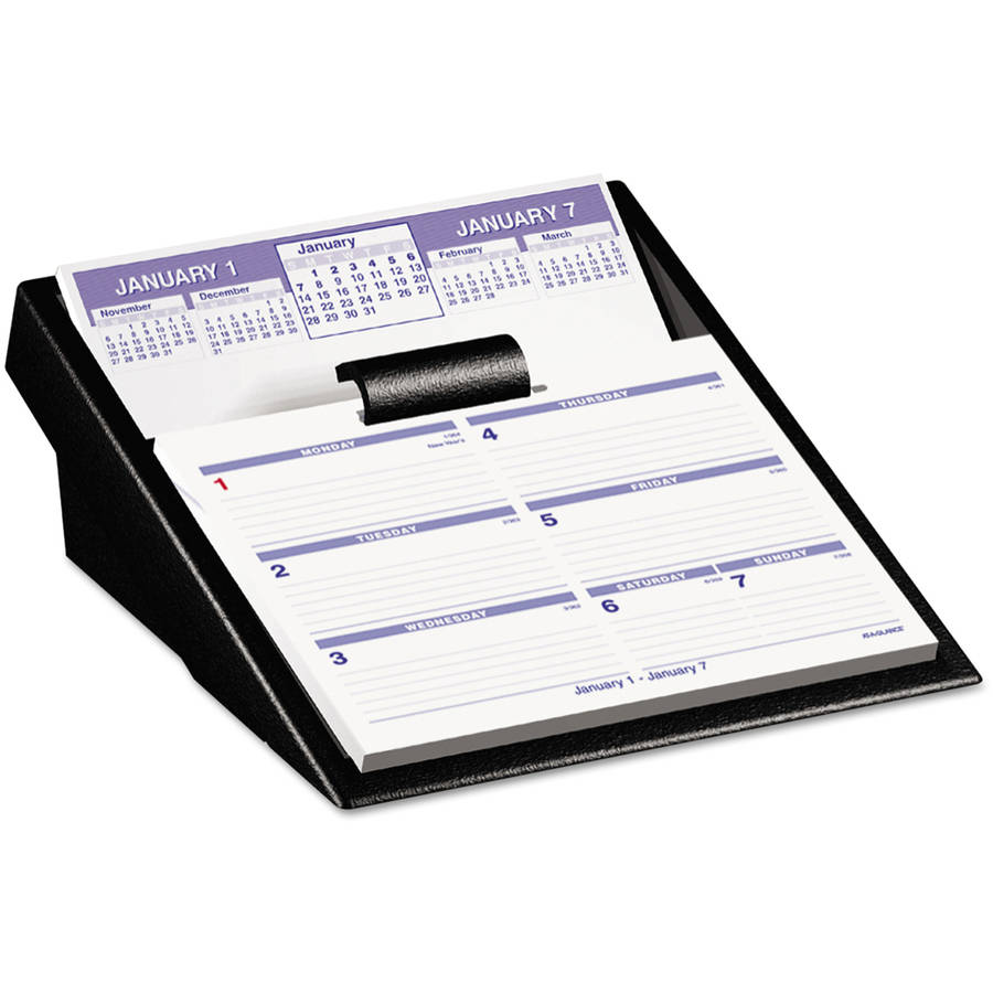 AT-A-GLANCE Flip-A-Week Desk Calendar and Base, 5 5/8 x 7, White, 2017