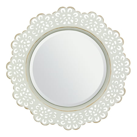 - Round White and Gold Metal Lace Wall Mirror