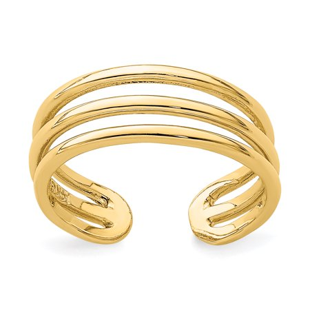 - 14K Yellow Gold Plated Polished 3 Row Toe Ring