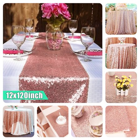 1/2/10Pcs Sequin Fabric Sparkly Tablecloth Table Cloth 12'' X 120'' Rose Gold Table Runner Wedding Event Banquet Decor Photography Background Backdrop Photo Studio Props for $<!---->
