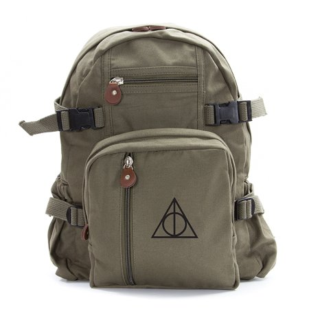 Harry Potter Deathly Hallows Symbol Military Backpack Durable School Book