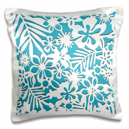 3dRose Hawaiian White n Turquoise Floral - Pillow Case, 16 by 16-inch ()
