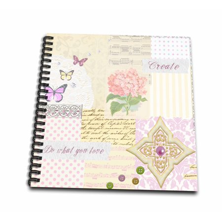 3dRose Do what you love - Create - Pastel Girly Shabby Chic Collage - Pink Flower music and butterflies - Drawing Book, 8 by - Shabby Chic Scrapbook Paper