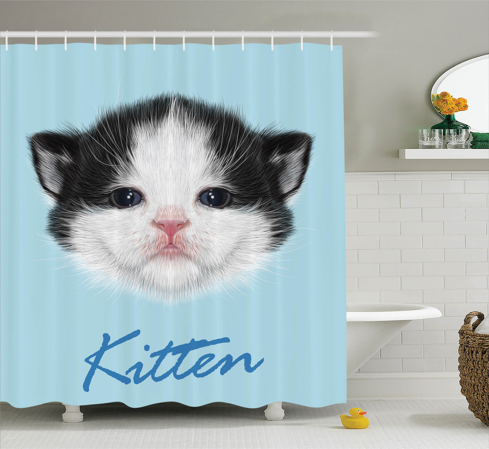 Cartoon Decor  Portrait Of Domestic Kitten Newborn Bicolor Fury Head Pink Wet Nose Artsy Graphic, Bathroom Accessories, 69W X 84L Inches Extra Long, By Ambesonne