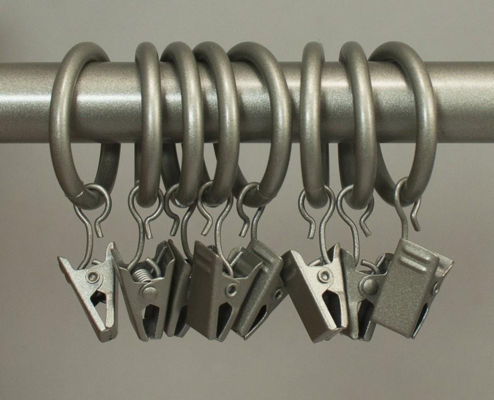 "16 Pcs Metal Curtain Drapery Ring Clip Inner Diameter Fits Up To 7//8/"" Rod Black"