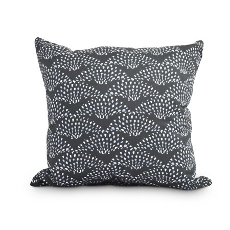 Image of Fan Dance 16 Inch Black Geometric Print Decorative Outdoor Throw Pillow