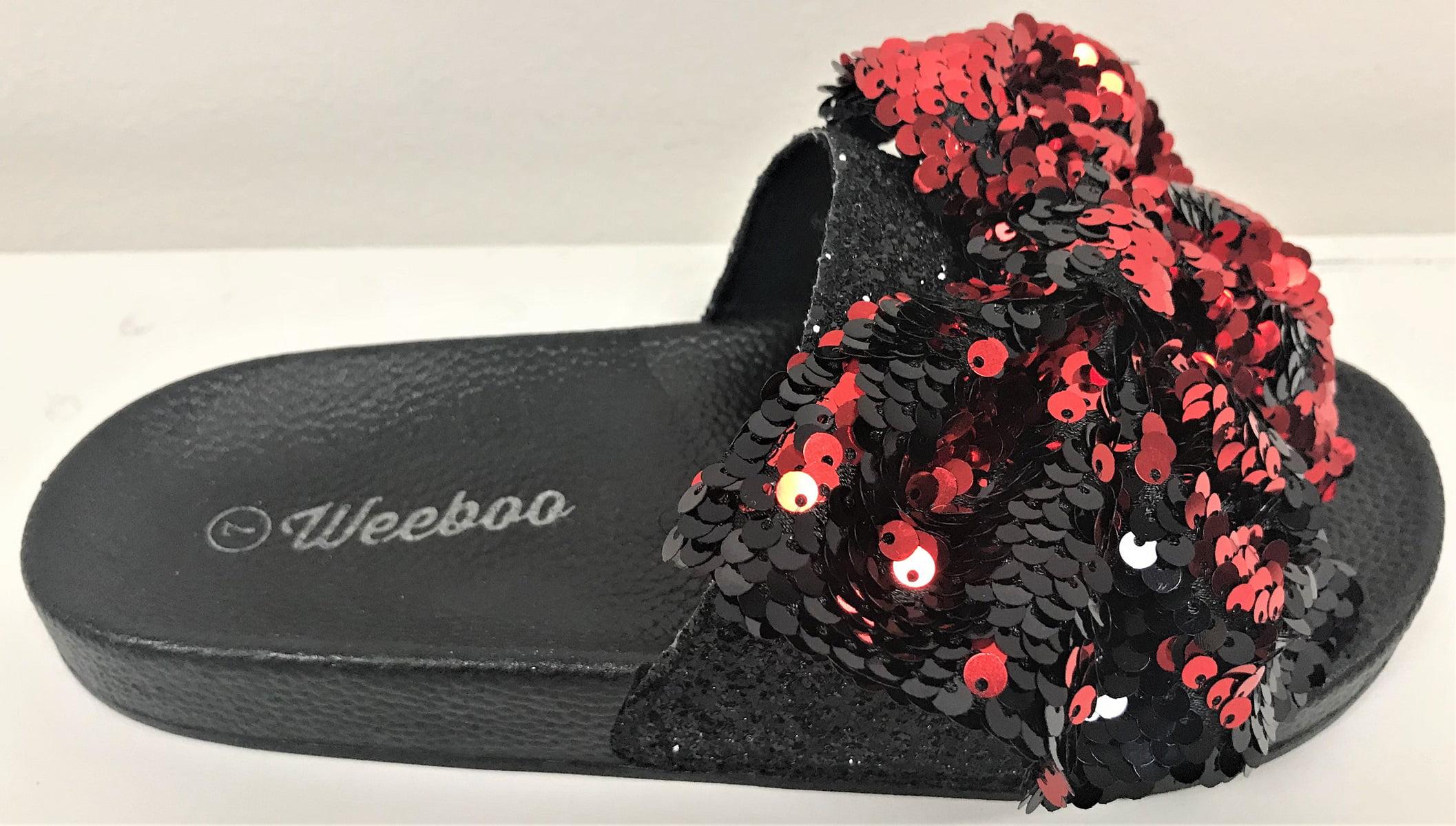 d6e10a40028b6 Weboo - Kelly-01 Open Toe Slides Bow Sequin Glitter Sparkle Flip Flops  Sandals Red - Walmart.com