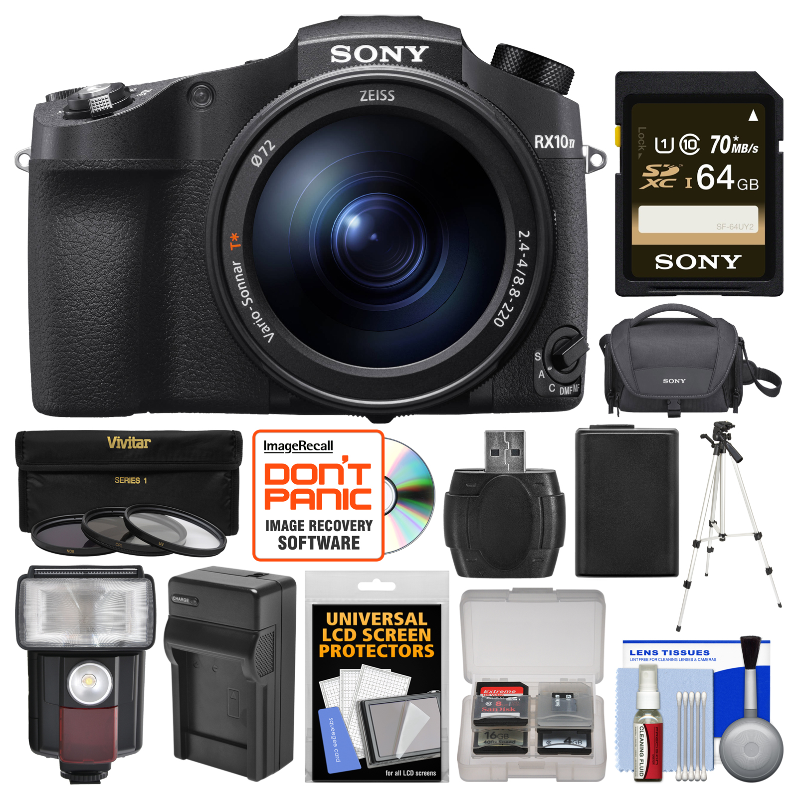 Sony Cyber-Shot DSC-RX10 IV 4K Wi-Fi Digital Camera with 64GB Card + Case + Flash Video Light + Battery &... by Sony