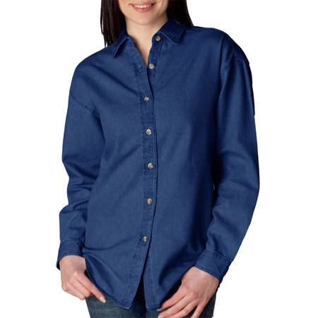 UltraClub 8966 Ladies Cypress Denim Shirt -Indigo-Small