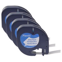 GREENCYCLE 4PK 12mm 4m Black on White Plastic Label Tape for Dymo 91331 91201 91221 59422 S0721660 LetraTag Printer