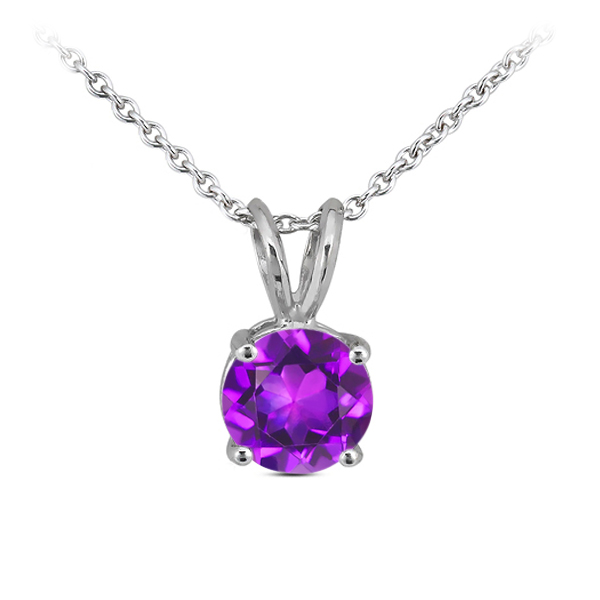 0.75 Ct Round Purple Amethyst 14K White Gold Pendant With Chain