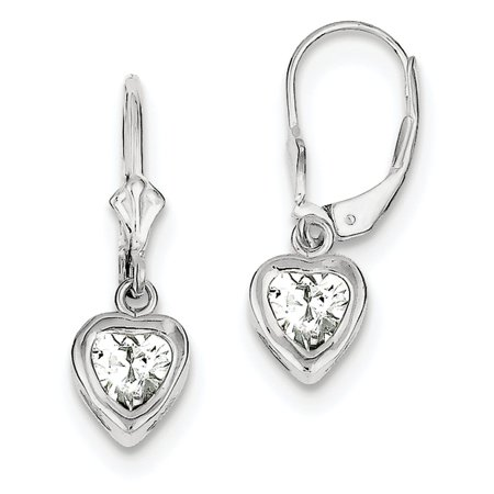 925 Sterling Silver Bezel Polished Open back 6mm Heart Cubic Zirconia Leverback