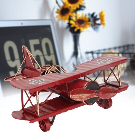YLSHRF Vintage Airplane Model Wrought Iron Aircraft Biplane for Desktop Decor Photo Props, Aircraft Model, Biplane Model Aircraft Real Photo