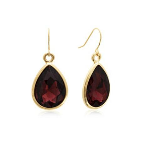 18 Carat Pear Shape Marsala Crystal Earrings Gold Overlay 14k Gold Overlay Pear