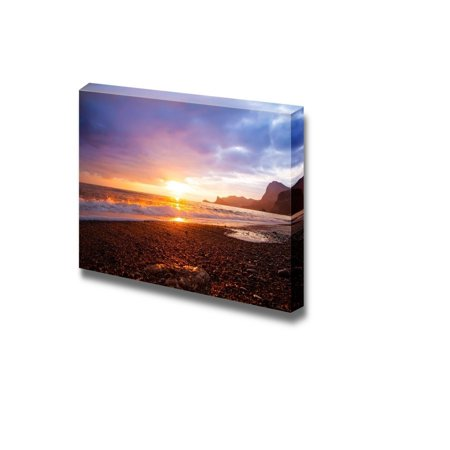 Canvas Prints Wall Art - Sea Sunset Landscape at the Beach   Modern Wall Decor/Home Decoration Stretched Gallery Canvas Wrap Giclee Print & Ready to Hang - 24