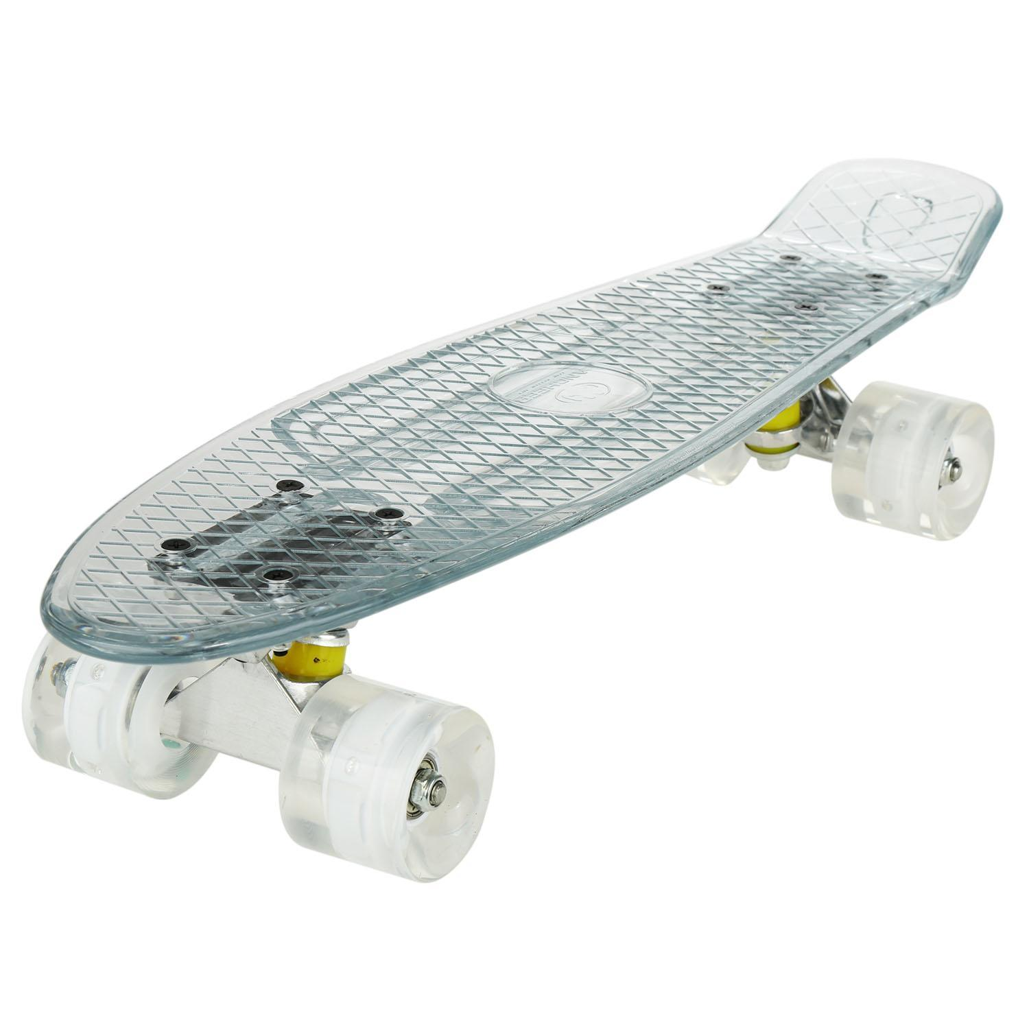 Last Clearance&Sale!!22 Inch Cruiser Crystal Clear Board LED Light Up Wheels Outdoor Complete Deck Skateboard FSBR by