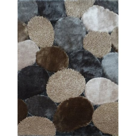 Grey with Beige Indoor Durable Shag 100 Percent Polyester Hand Tufted & Hand Made Doormat Area Rug (Exact Size 2 Feet x 3 Feet) ()