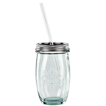 5.75 Ounce Glass - Couronne Co. Authentic Drinking Glass with Straw, G2340, 5.75 inches tall, 15.2 Ounce Capacity, Clear