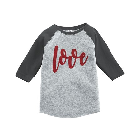 Custom Party Shop Kids Love Happy Valentine's Day Grey Raglan - Large Youth (14-16) T-shirt - Custom Kid Clothes