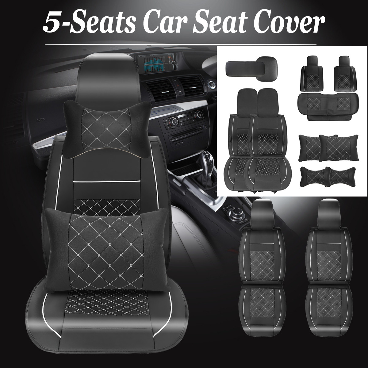 11 in 1 5-Seats Universial Sedan SUV PU Leather Car Seat Front+Rear Seat Cushion Cover Protector With 2 x Neck Cushion Pillows+2 x Back Pillows