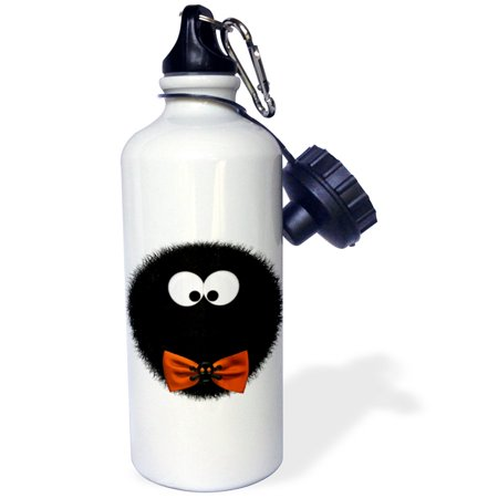 Halloween Decorated Water Bottles (3dRose Halloween Cute Fuzzy Critter Black Bowtie, Sports Water Bottle,)