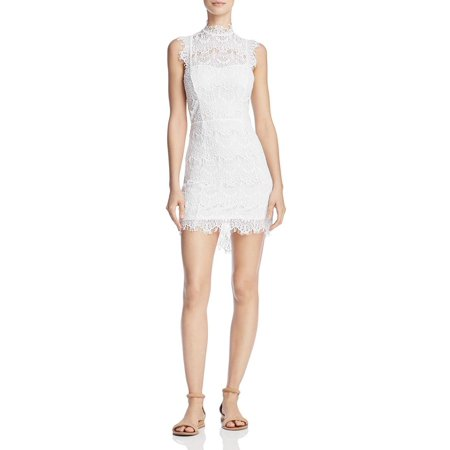Free People White Sleeveless Daydream Lace Bodycon Dress L