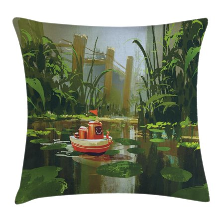 Fantasy Art House Decor Throw Pillow Cushion Cover, Toy Boat with Smile Face Sailing on River in Forest Cartoon Inspired, Decorative Square Accent Pillow Case, 16 X 16 Inches, Red Green, by Ambesonne](Inspiring Smiles)