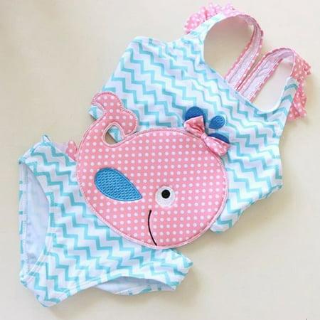 Summer Toddler Baby Girls Goldfish Swimwear Swimsuit Beachwear Bathing Suit One Piece 1-2 Years