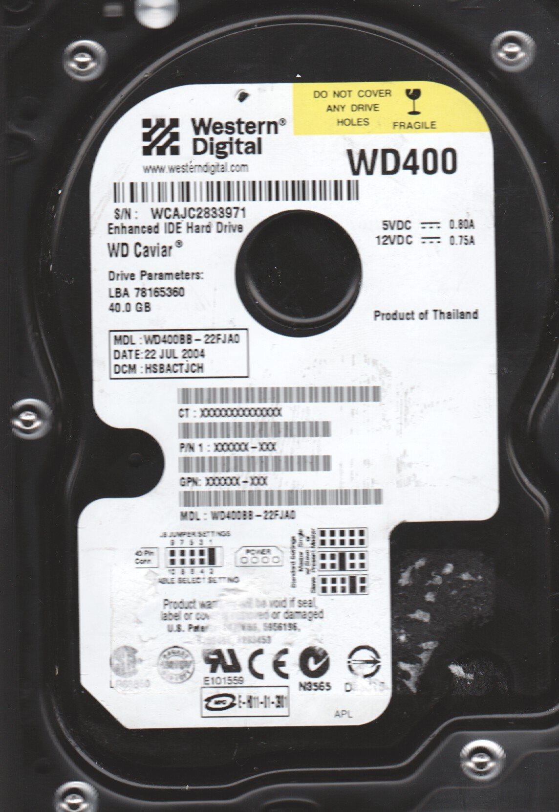 "Western Digital WD400BB-22FJA0 2061-001130-300 AG 40gb 3.5/"" IDE PCB"