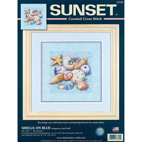 "Dimensions Shells On Blue Counted Cross Stitch Kit, 10"" x 10"""