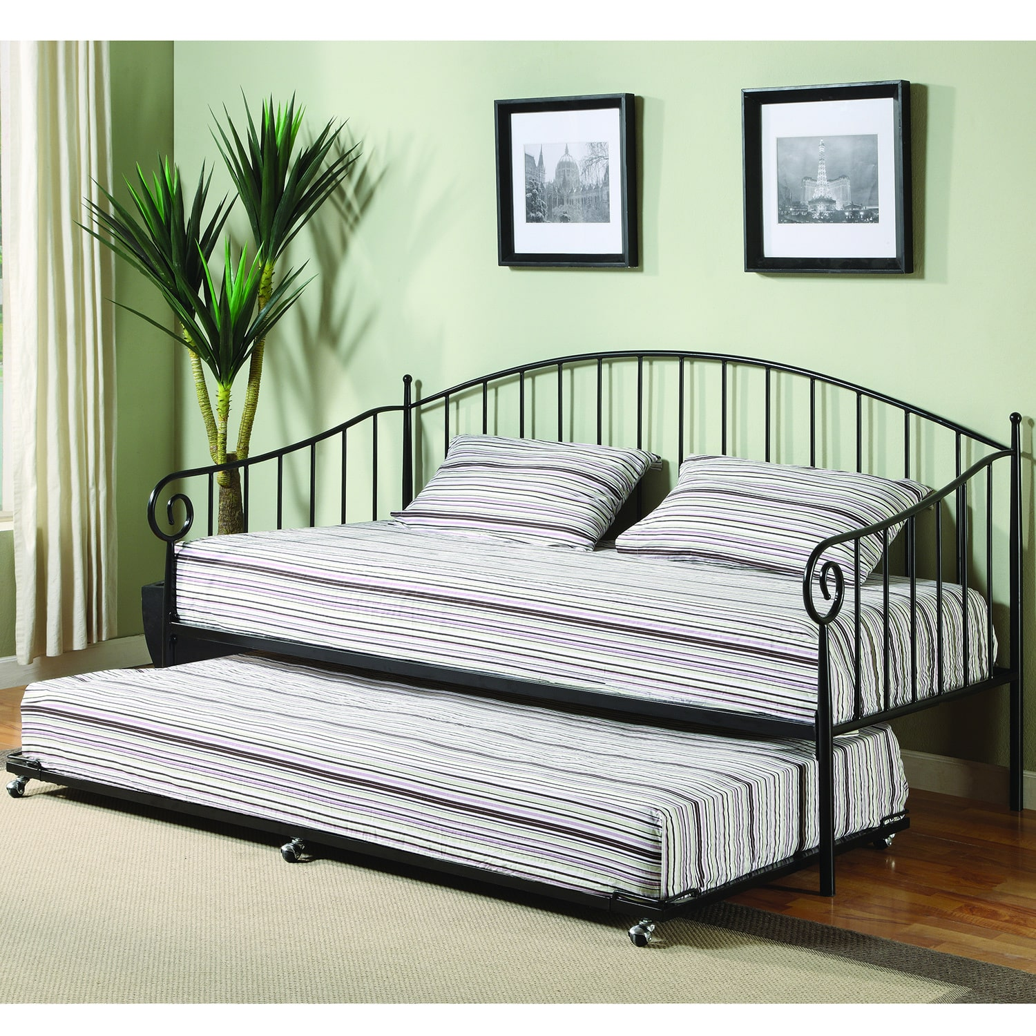 K and B Furniture Co Inc K&B BT01 Black Finish Day Bed