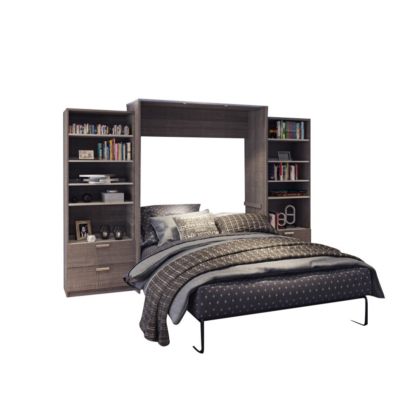 """Atlin Designs 124"""" Queen Wall Bed Kit in Bark Gray and White"""