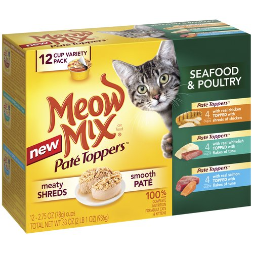 Meow Mix Pate Toppers Seafood & Poultry Wet Cat Food Variety Pack, 2.75-Ounce Cups (Pack of 12)