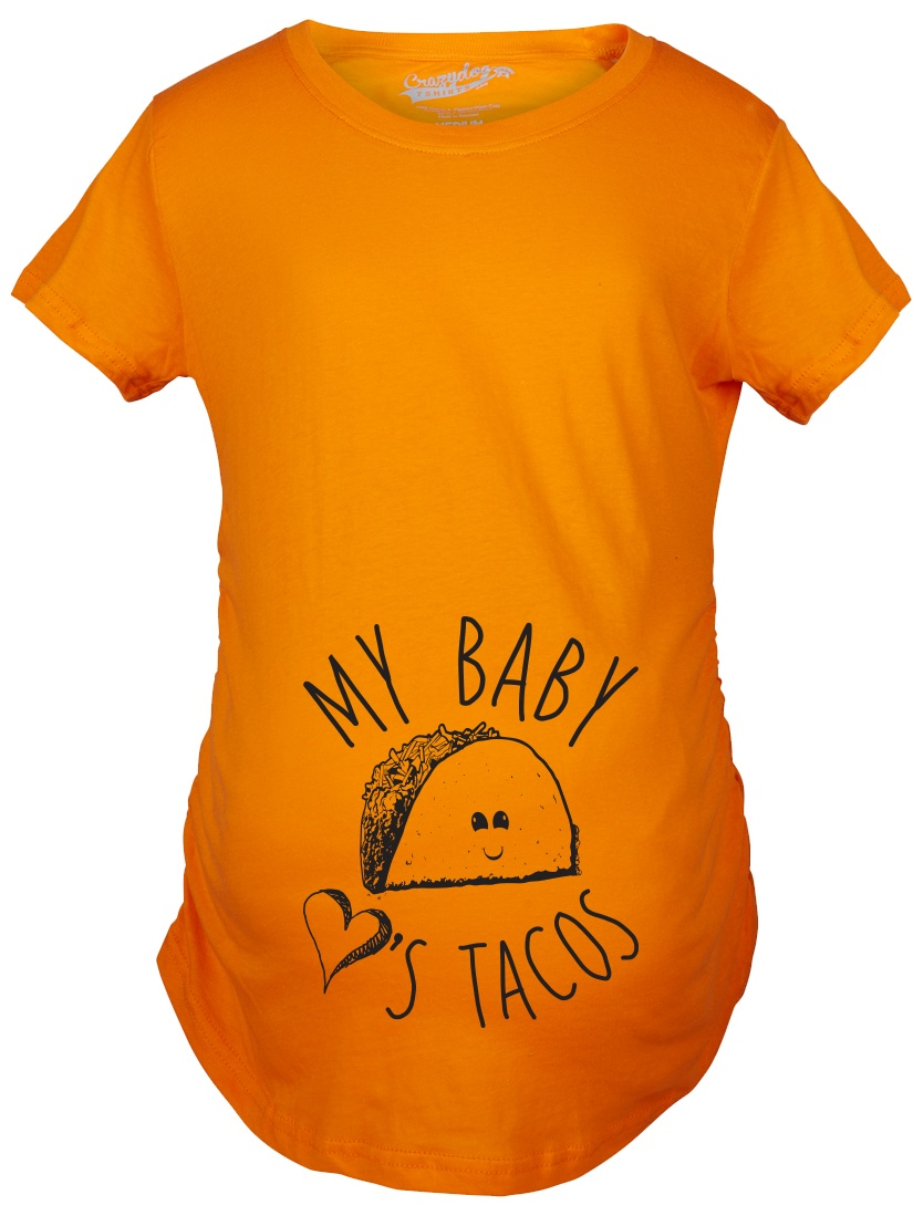 Maternity My Baby Loves Tacos Funny T shirt Cute Announce Pregnancy Bump Tee