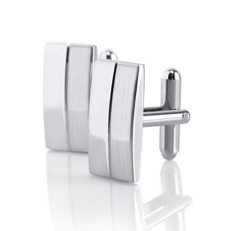 21 x 10.5 mm Silver Rectangular Stripe Cufflinks Cuff Links For Attire