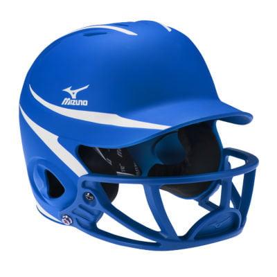 Mizuno Mvp Two Tone Polycarbonate Facemask Batting Helmet L Xl Royal White