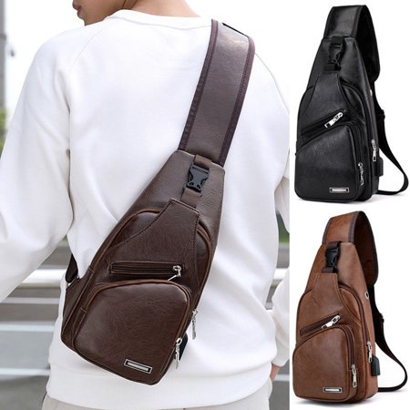 Men's Leather Chest Cycle Sling Pack Satchel Shoulder Bag Small Day Packs