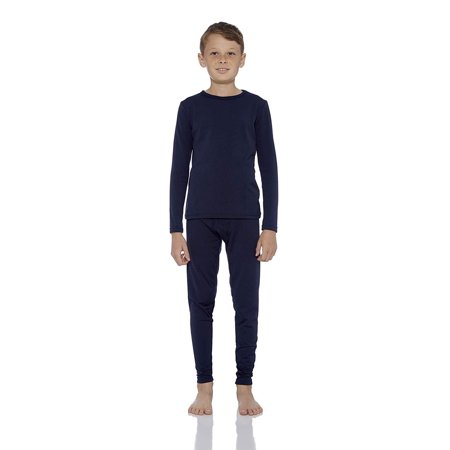 Rocky Boy's Ultra Soft Fleece Lined Thermal Underwear 2 PC Set Long John Top and Bottom (L, Navy)