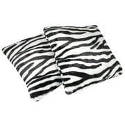 Sweet Home Collection Zebra Animal Print Faux Fur Throw Pillow (Set of 2)