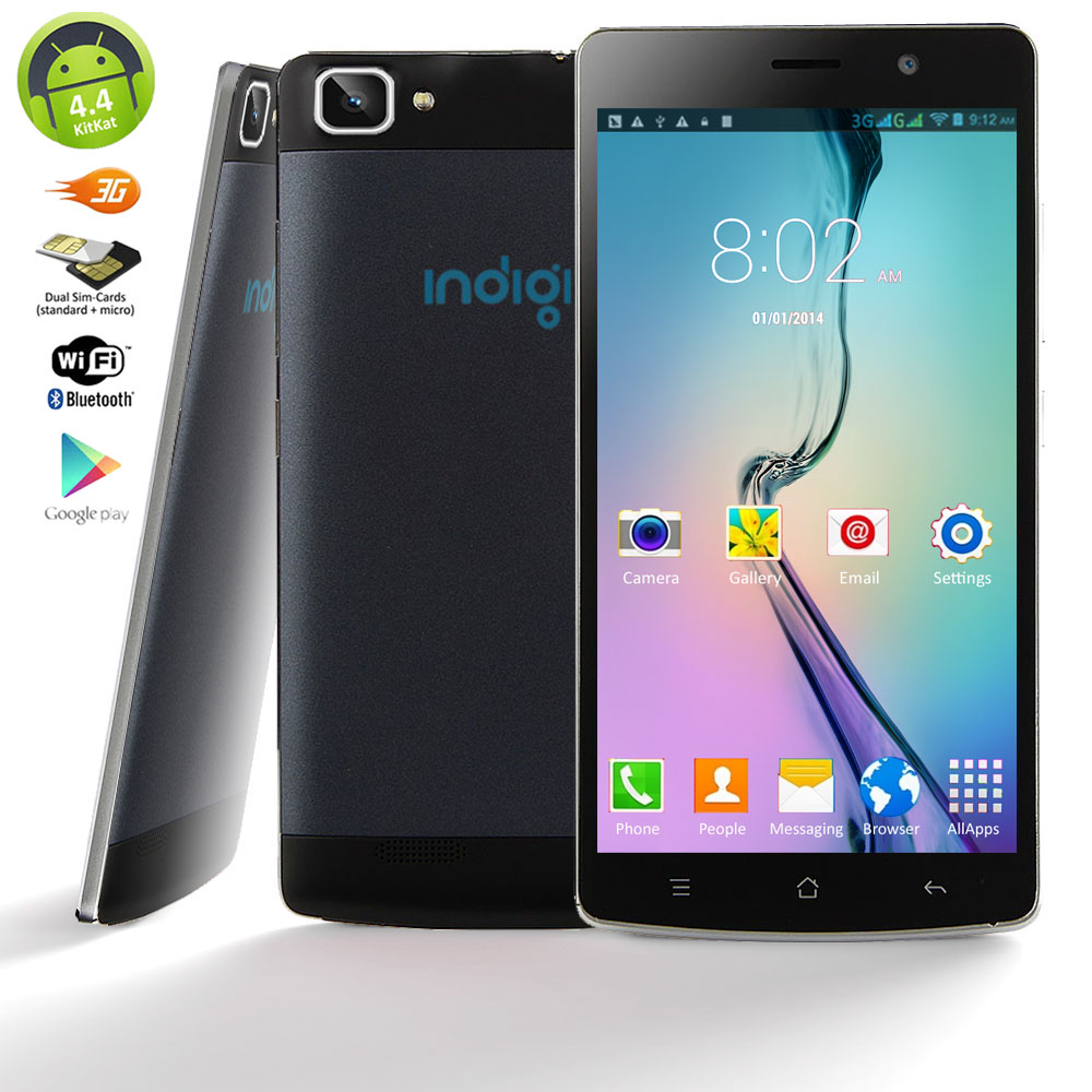 "Indigi® Factory Unlocked 3G V19 SmartPhone - 5.5"" HD Android 4.4 KitKat Dual-Core Dual-Sim Smartphone (Black)"