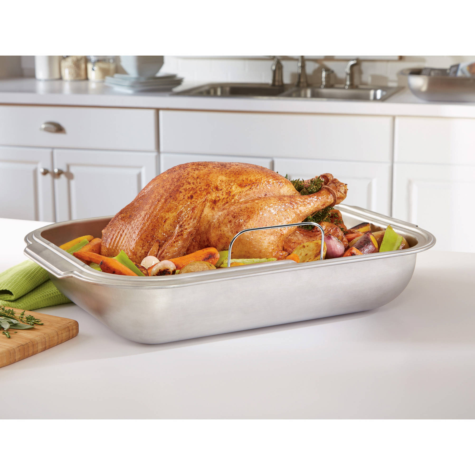 Mainstays Jumbo Roaster with Rack, Stainless Steel 18""