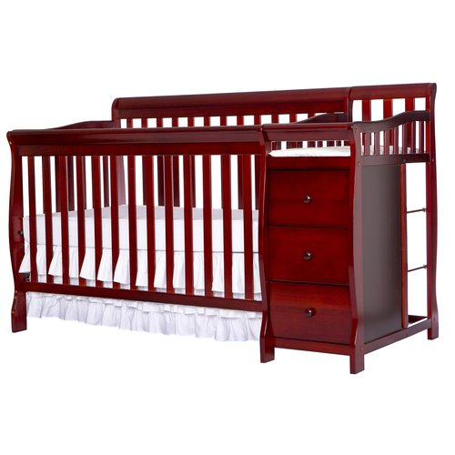 Dream On Me, 5-in-1 Brody Convertible Fixed-Side Crib With Changer, Cherry