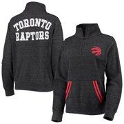 Toronto Raptors New Era Women's Striped Trim Tri-Blend Half-Zip Pullover Jacket - Black